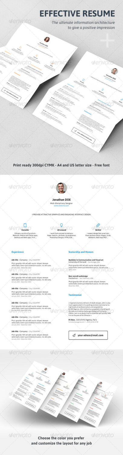 Effective resume template psd