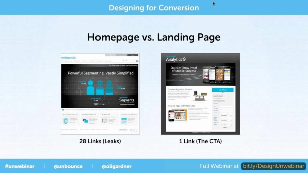 Homepage vs landing
