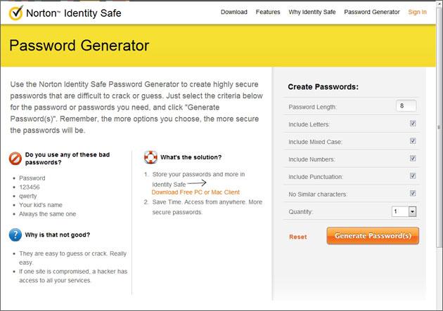 Norton Password Generator