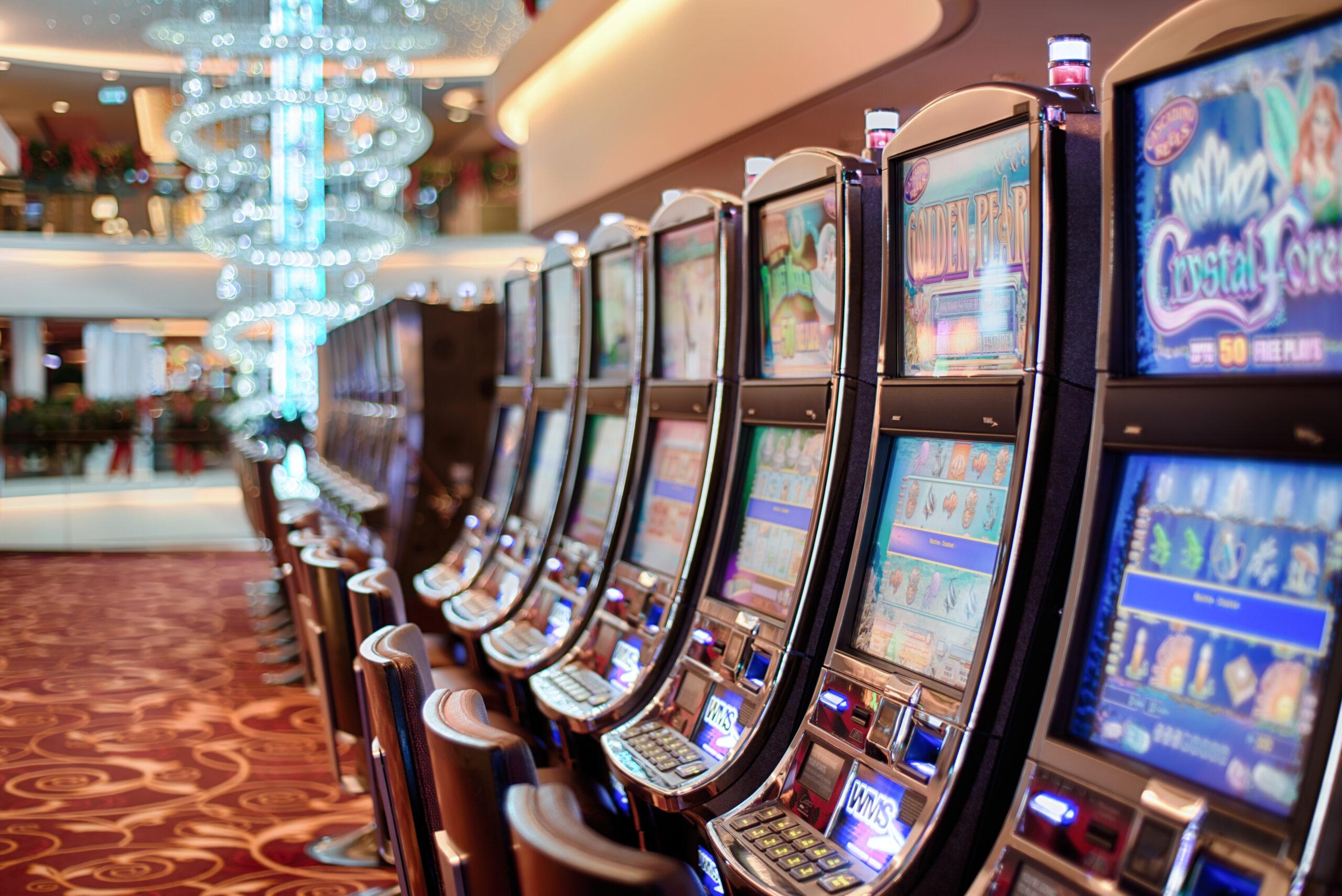 Row Of Empty Slot Machines In Hotel Casino