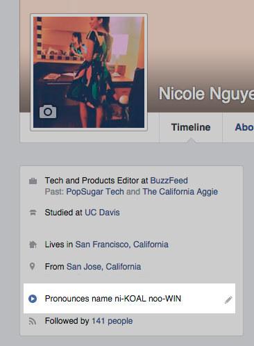 Name pronouncing on facebook