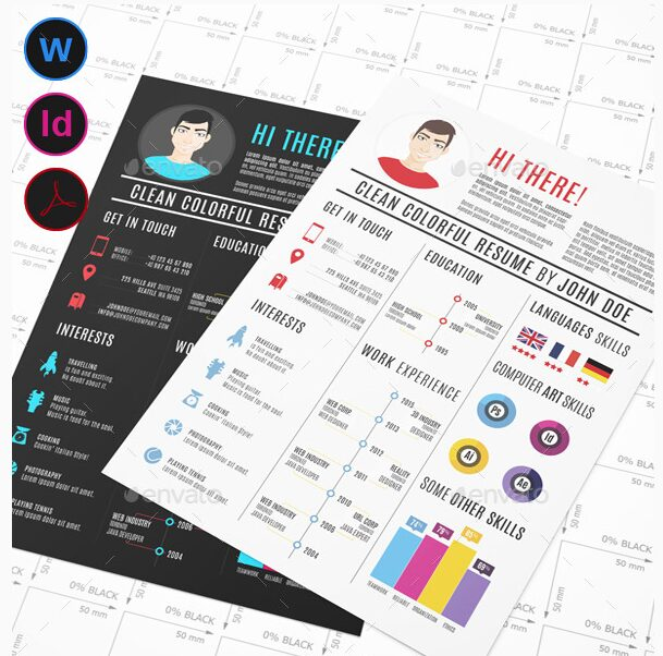 Clean Colorful Infographic Resume