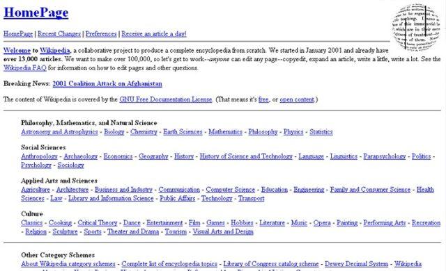 2001 Wikipedia
