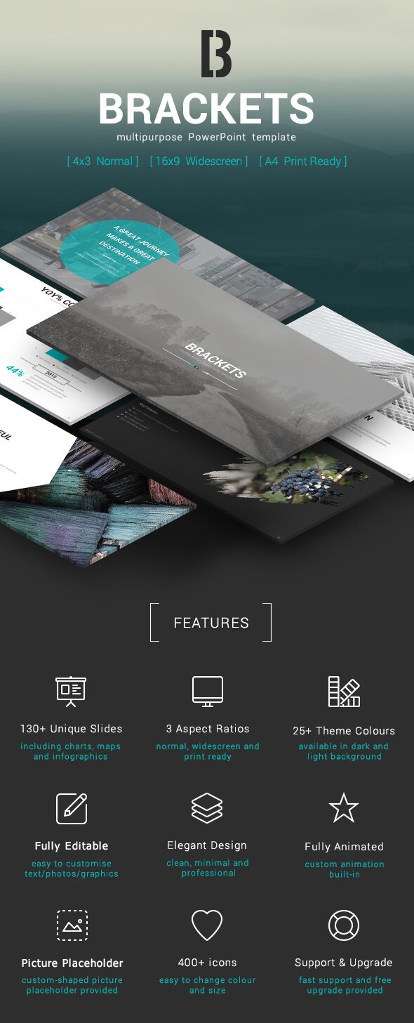 Brackets multipurpose powerpoint template preview