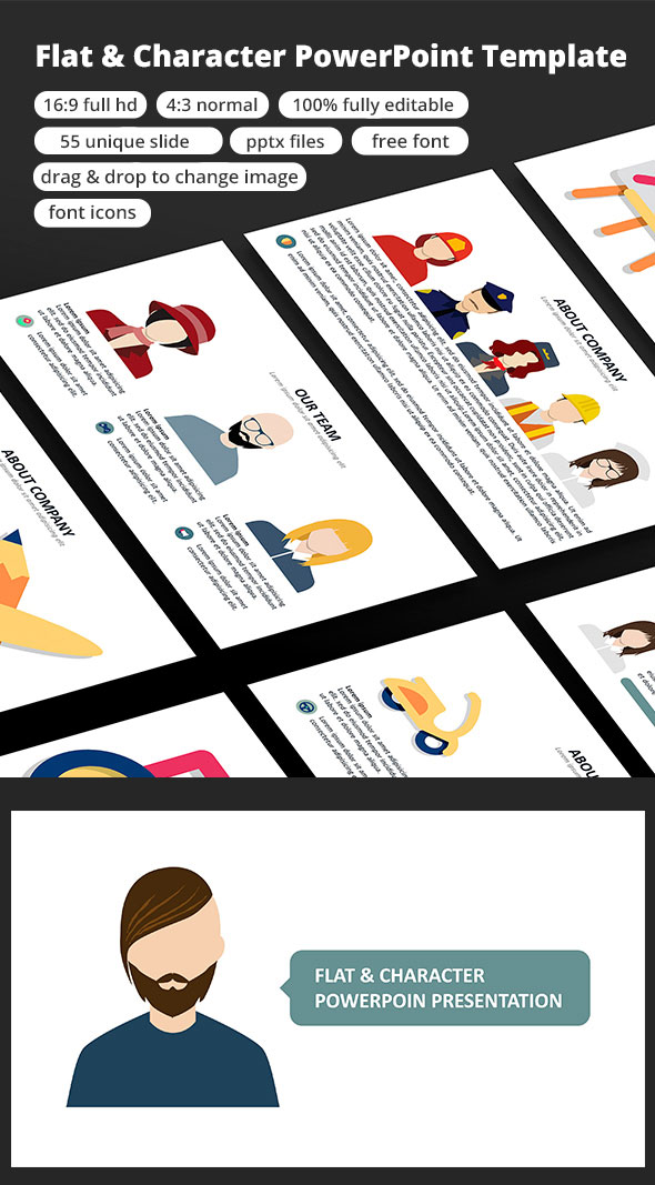 character flat powerpoint