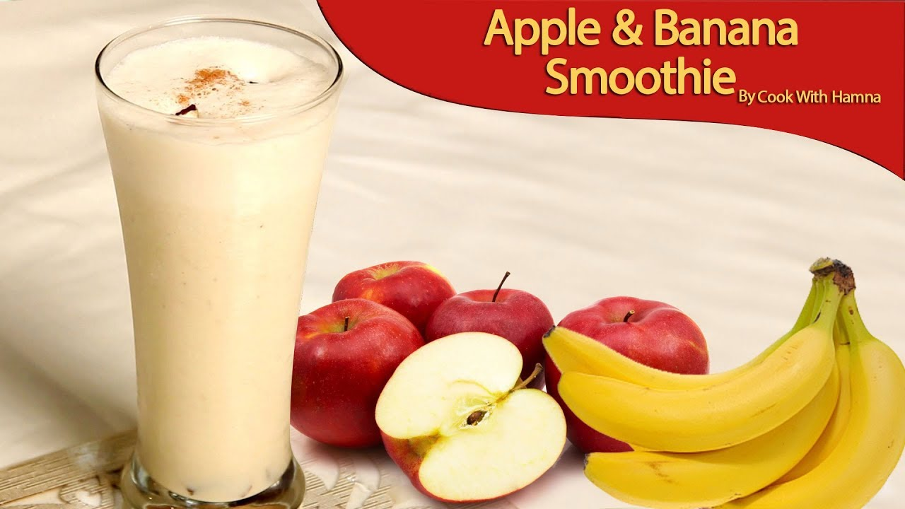 apple and banana smoothie with milk