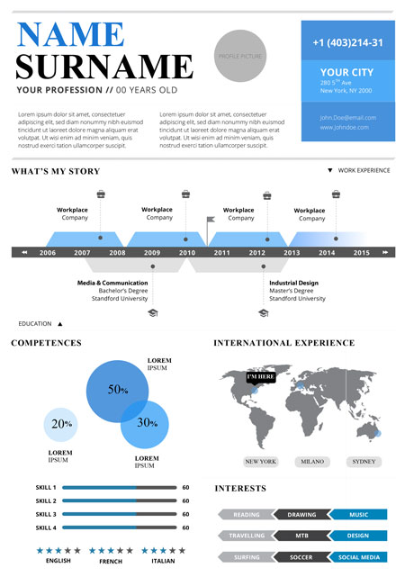 Infographic Resume 2 A4 BLUE
