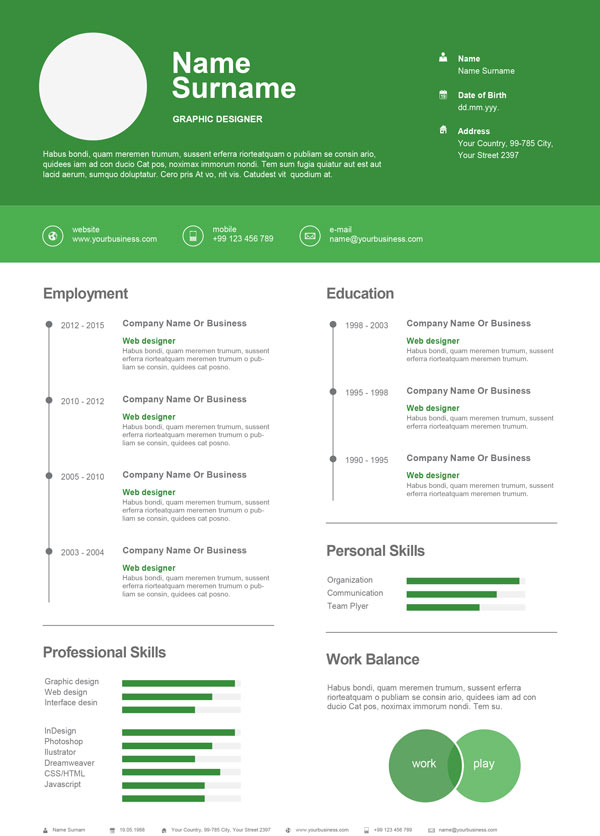 Infographic resume images for professionals