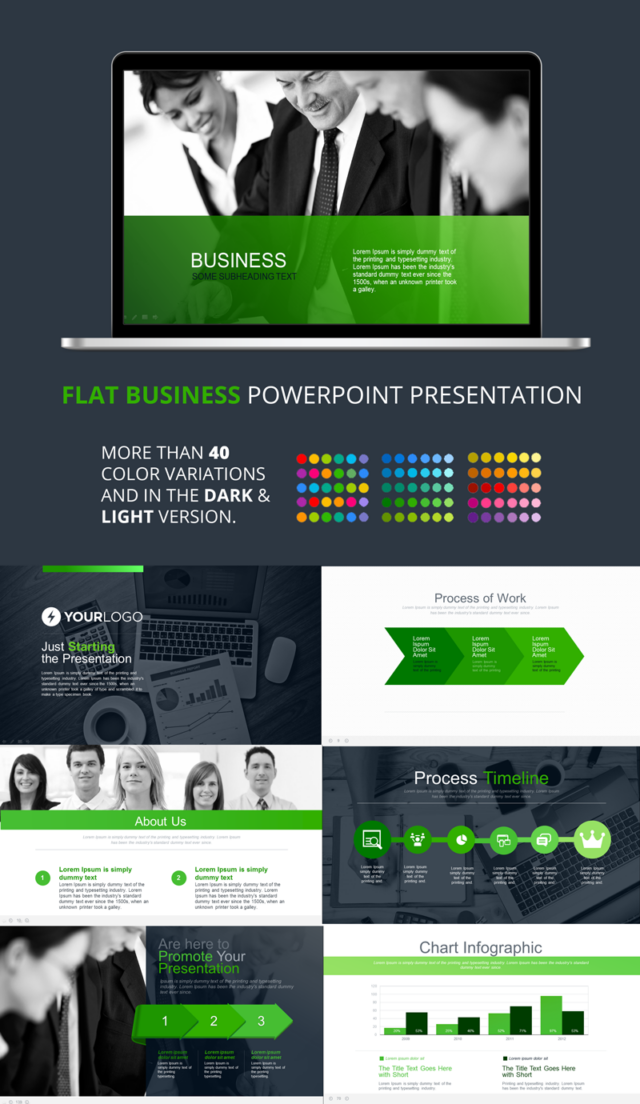 FLAT BUSINESS POWERPOINT PREVIEW
